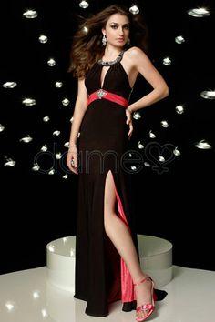 Split Front Etui-Linie Juwel Chiffon glamouröses & dramatisches bodenlanges schickes & modernes Ballkleid