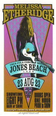 "Melissa Etheridge (click image for more detail) Artist: Mark Arminski Number: MA-9627 Venue: Jones Beach Amphitheater Location: Jones Beach, NY Concert Date: 8/23/1996 Size: 10.5"" x 22"" Condition: Min"