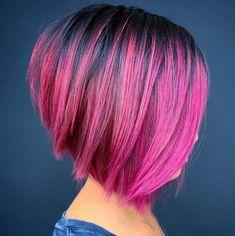 Pink And Orange Hair, Dark Pink Hair, Bright Pink Hair, Hot Pink Hair, Pink Hair Streaks, Pink Ombre Hair, Hair Color Pink, Balayage Hair Blonde, Short Textured Hair