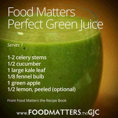 Healthy juice from Food Matters- another pinner said:Day 2 of drinking the perfect green juice and I have more energy & mental clarity than I've had in 10 years. Juice Cleanse Recipes, Green Juice Recipes, Juicer Recipes, Green Smoothie Recipes, Juice Smoothie, Smoothie Drinks, Green Smoothies, Detox Drinks, Canning Recipes