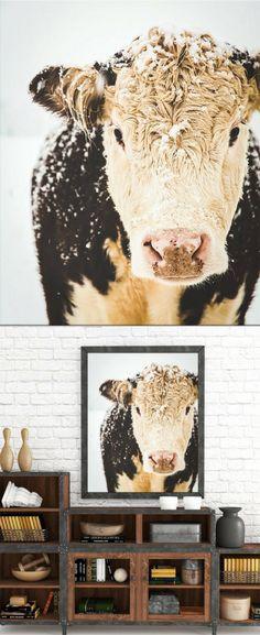 Cow Print, Cow Art, French Country Decor, Farmhouse Print, Winter Art, Snowy Cows, Farmhouse Rustic Decor, Large Wall Art, Fine Art Print, Christmas gift idea #ad