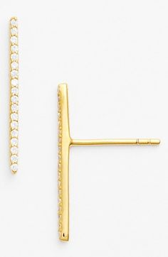 Sugar Bean Jewelry Boxed Pavé Bar Stud Earrings available at #Nordstrom
