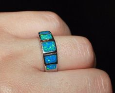 blue fire opal ring Gemstone silver jewelry Sz 6.25 engagement wedding band #Band