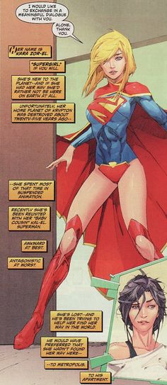About time New 52 Supergirl learned English! Can't wait to see her alter her costume to something more eye-friendly (does John Byrne's explanation of Superman wearing stable molecules still fly? Dc Heroes, Comic Book Heroes, Comic Books Art, Comic Art, Book Art, Supergirl, Batgirl, Hq Dc, Drawn Art