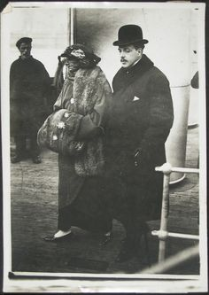 Manuel II, Deposed King of Portugal, and His Wife, Returning from Their Honeymoon Artist/maker unknown, French? Old Photos, Vintage Photos, Portuguese Royal Family, Two Sicilies, Al Capone, Prince And Princess, Ferdinand, Coat Of Arms, Royalty