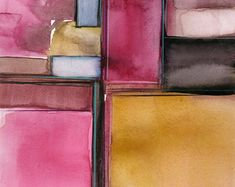 """Abstract pink, mustard, rose, Watercolor Painting, Serene, Peaceful, Tranquil, Original art """"Sacred Balance 2"""" by Kathy Morton Stanion EBSQ"""