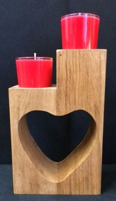Solid Oak Heart candle holder with 2 scented 'Candles In A Glass' Chocolate Gifts, Be My Valentine, Solid Oak, Scented Candles, Candle Holders, Heart, Glass, Cards, Drinkware
