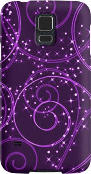 Purple Abstract Twinkling Stars Swirl Pattern | Snap Cases, Tough Cases, & Skins for iPhones 4s/4 5c/5s/5 6Plus & Samsung S3/S4/S5 Galaxy Phones. **All designs available for all models.