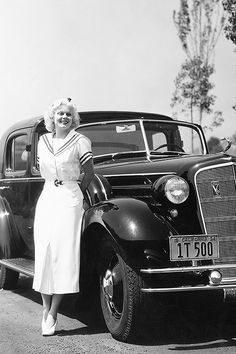 sharontates: Jean Harlow poses with her new Cadillac V-12 motor car, C. 1930's. Photo by Margaret Chute