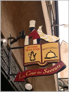 restaurant sign in Strasbourg (Bas Rhin) France