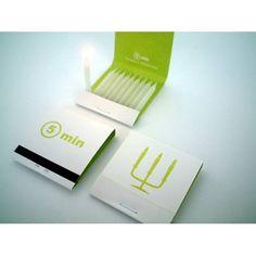 5 minute candles. Designed to look like a pack of matches and to be carried in your pocket. Sweet idea.