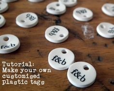 Tutorial: customized plastic tags with shrink plastic {awesome little accessorizing idea for crocheted handbags, edging on a scarf, etc}