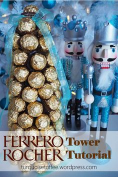Ferrero Rocher Tower Tutorial…What . White Christmas Trees, Christmas String Lights, Christmas Love, Christmas Cookies, Christmas Candy, Christmas Decor, Ferrero Rocher Tree, Ferrero Rocher Chocolates, Ferrero Chocolate