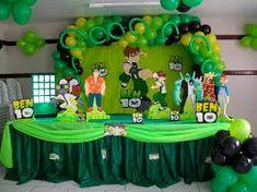 Resultado de imagen de FESTA BEN 10 Ben 10 Birthday, Zombie Birthday Parties, Birthday Bash, Birthday Ideas, Ben 10 Cake, Ben 10 Party, Party Themes For Boys, Birthday Decorations, Playstation Cake