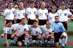 Germany at the 1996 European Championship in England, they beat the Czech Republic 2-1 in the final courtesy of a golden goal from Oliver Bierhoff, also the last major international trophy they won.      Top row from left: Thomas Strunz, Matthias Sammer, Markus Babbel, Dieter Eilts, Thomas Hässler, Thomas Helmer. Bottom row from left: Christian Ziege, Stefan Kuntz, Mehmet Scholl, Jürgen Klinsmann, Andreas Köpke