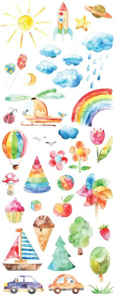 Watercolor happy childhood set Love all these watercolor drawings! Rainbow flowers, icecream and toys, it would look great in print in the kids room [. Painting For Kids, Diy Painting, Painting & Drawing, Painting Tutorials, Watercolor Drawing, Watercolor Stickers, Kids Watercolor, Watercolor Flowers, Watercolour Paintings