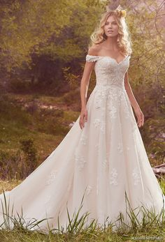 maggie sottero spring 2017 bridal off the shoulder sweetheart neckline heavily embellished bodice romantic a  line wedding dress chapel train (saffron) mv