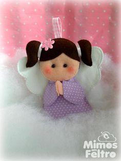 Felt Crafts, Diy Crafts, Felt Angel, Fidget Blankets, Angel Crafts, Felt Patterns, Angel Ornaments, Felt Art, Hello Kitty