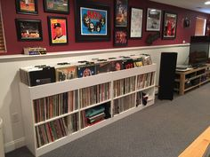 Custom vinyl LP storage shelf with old school bins on top