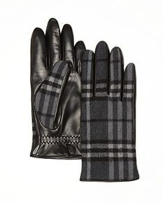 Burberry Luca Contrast Check Gloves | Bloomingdale's