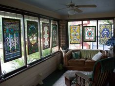 April's Stained Glass Screened in Porch~privacy with a breeze. This is over the top, what I'm look for! Stained Glass Panels, Stained Glass Patterns, Stained Glass Art, Mosaic Glass, Colored Glass, Decoration, House, Interior Design, Porch Privacy