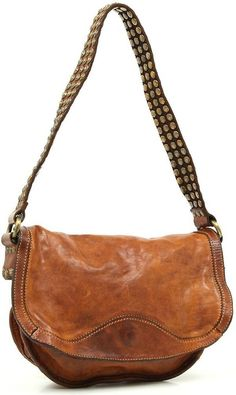 Distressed Leather Studded Leather Bag