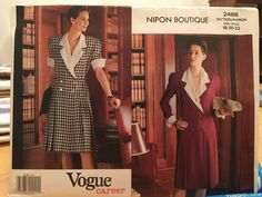 Vogue Dress Double Breasted Long Short Sleeve French Cuffs Nipon Boutique 2488 Sewing Pattern for Women Size 12 14 16 Pleated Bodice, Pleated Skirt, Vogue Patterns, Sewing Patterns, Vintage Patterns, Vintage Sewing, Dress Making Patterns, Long Shorts, Vintage Vogue