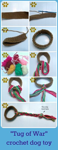 how to make a dog toy..  you could do this with old t-shirts and it would be more sturdy for a dog toy.