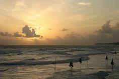 stilt fishermen at sunset, Southern Province, Sri Lanka (www.secretlanka.com)