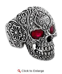 Sterling Silver Garden Skull Ring with CZ Eyes, I want this ring so bad, a shame it's a mans ring.  Bummer!