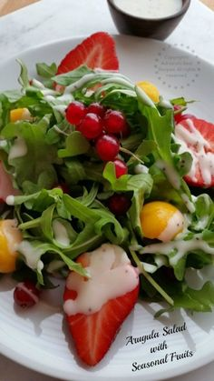 Arugula Salad with Seasonal Fruits. A Recipe part of the #FoodieBeMine Progresisve Dinner Menu #ABRecipes