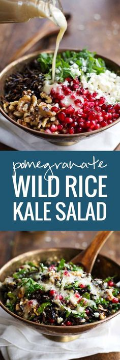 Pomegranate, Kale, and Wild Rice Salad with Walnuts and Feta - aAperfect way to freshen up the table!