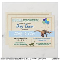 Couples Dinosaur Baby Shower Its a Boy Blue Invite Dinosaur Invitations, Custom Invitations, Dinosaur Design, Babies R Us, New Baby Boys, Colored Envelopes, Boy Blue, Envelope Liners, Paper Texture