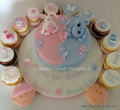Delicious vanilla celebration cake to celebrate a twin girl and boy's first birthday!  With matching chocolate and vanilla cupcakes :-) x