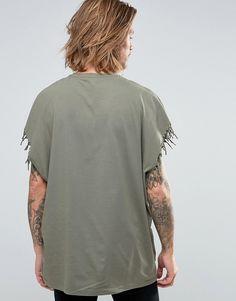 Image 2 ofASOS Super Oversized T-Shirt With Fringe Armhole