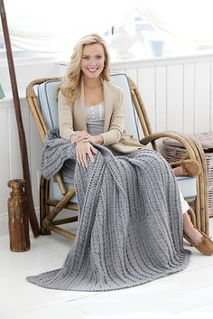 Ravelry: Cabled & Shell Throw pattern by Drew Emborsky