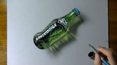 Drawing Time Lapse: a glass bottle of Sprite - hyperrealistic art