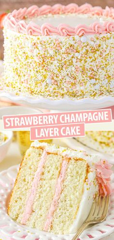 This Strawberry Champagne Layer Cake has. This Strawberry Champagne Layer Cake has layers of moist champagne cake and fresh strawberry frosting! Its covered in champagne frosting and fun festive sprinkles for a cake thats perfect for New Years Eve! Food Cakes, Cupcake Cakes, Cupcakes, Sweets Cake, Cake Recipes From Scratch, Easy Cookie Recipes, Baking Recipes, Easy Recipes, Whole30 Recipes