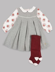 She'll not only look adorable but feel comfortable too in this cute outfit.    Girls   Baby   Outfits   Clothes   Fashion   Dresses   Vintage   Floral   Fall   Cute   Stylish  