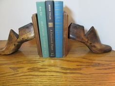 Vintage upcycled Cobblers Shoe Form Bookends by lindiekayes, $40.00