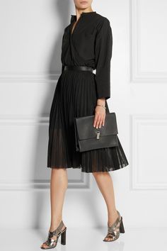 TOME Oversized cotton-poplin shirt £330  JUNYA WATANABE Pleated tulle skirt £530  PROENZA SCHOULER The Lunch Bag large leather clutch £630  ROBERT CLERGERIE Dirsta metallic leather sandals £420