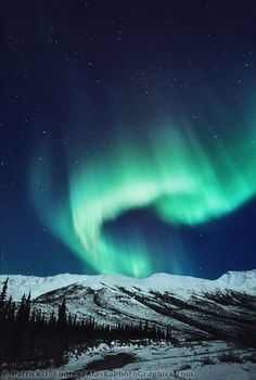 Aurora borealis in the Brooks mountain range, arctic Alaska.