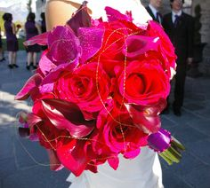 red rose pink calla lily orchid bouquet bridal gold wire unique asian utah wedding flowers
