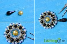 Finish the large beaded pendent