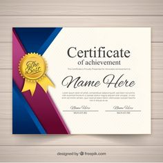 Plantilla de certificado con formas planas y coloridas Certificate Of Achievement Template, Certificate Design Template, Free Certificates, Lottery Numbers, Certificate Of Appreciation, Ribbon Design, Name Design, Jewelry Design Drawing, Wedding Invitations