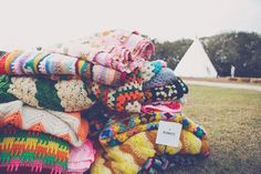 colorful blankets and lawnchairs!