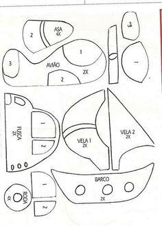 Pattern for cloth or felt airplane, car, boat.