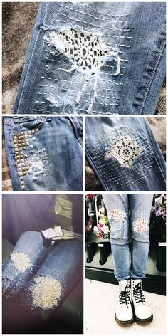 Most recent Images mending on her denim jeans. makes these jea… – 20 Most recent Images mending on her denim jeans. makes these jea… – 2019 - Denim Diy Style I really like Jeans ! And much more I want to sew my own personal Jeans. Next Jeans Sew Along I' Artisanats Denim, Patched Jeans, Lucky Brand, Diy Clothes Refashion, Diy Clothing, Jeans Refashion, Diy Kleidung Upcycling, Diy Upcycling, Jean Diy