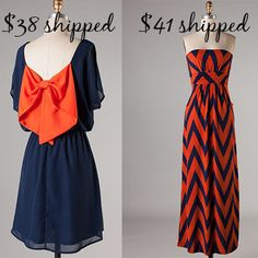 Orange and navy maxi dress