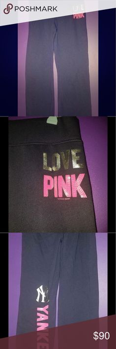 Victoria's Secret Pink sequin Yankee Vintage Flare NWT Victoria's Secret Pink New York Yankees Blue Pink logo vintage flare sweat pants! So comfy and cute for Winter weather coming! PINK Victoria's Secret Pants Track Pants & Joggers